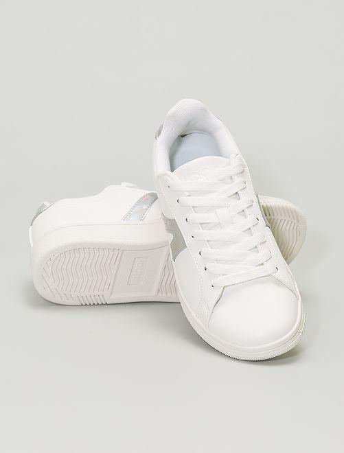 Zapatillas deportivas bajas con detalles plateados                             BLANCO