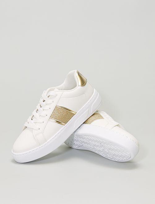 Zapatillas deportivas bajas con franjas brillantes y doradas                             BLANCO