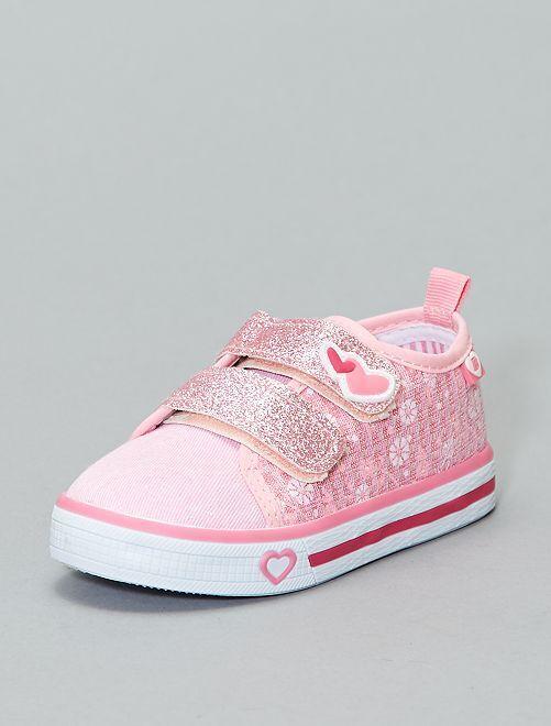 Zapatillas deportivas bajas con suela con luz                             rosa Bebé niña