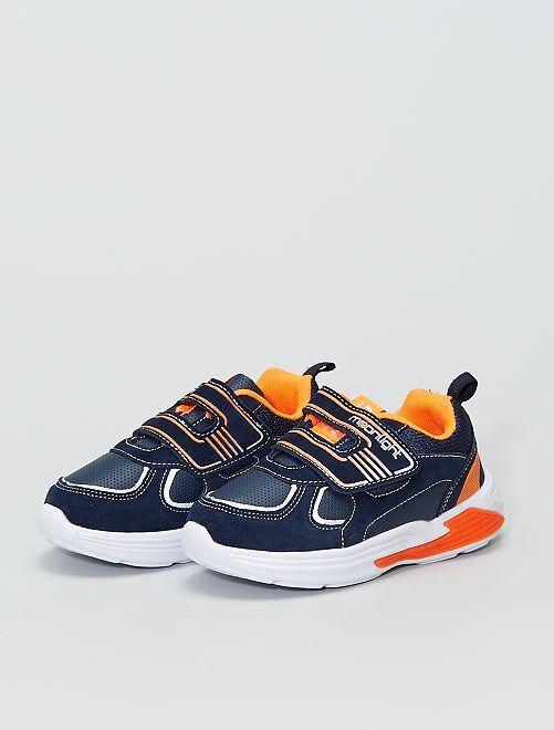 Zapatillas deportivas bajas con velcro y suela luminosa                             AZUL