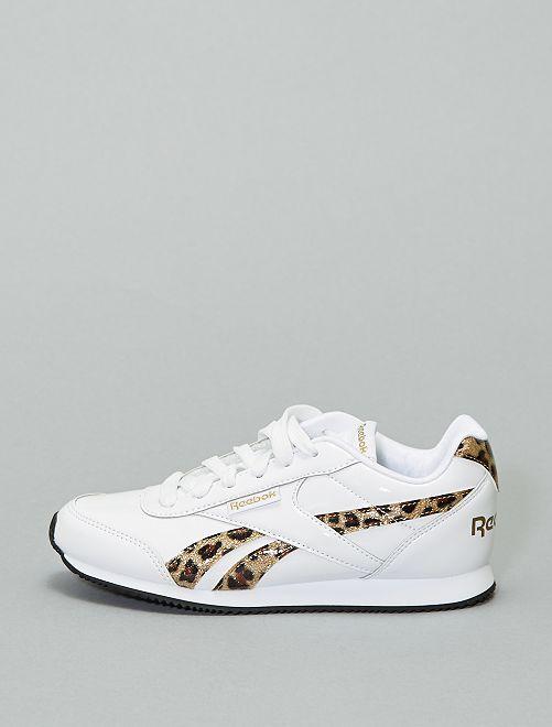 Zapatillas deportivas bajas de charol con detalles de leopardo                             BLANCO