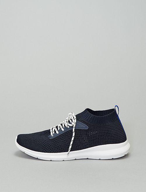 Zapatillas deportivas bajas de efecto tejido                             AZUL