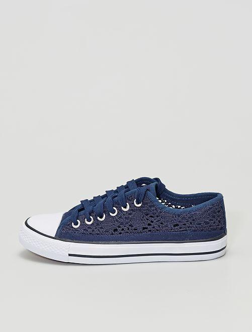 Zapatillas deportivas bajas de encaje y macramé                                             azul