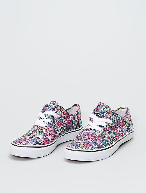 Zapatillas deportivas bajas de tela con flores                             NEGRO