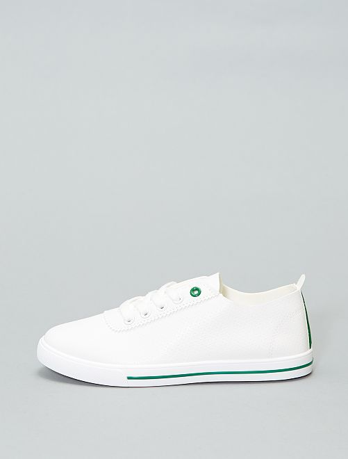 Zapatillas deportivas bajas flexibles                                         blanco/verde Mujer talla 34 a 48