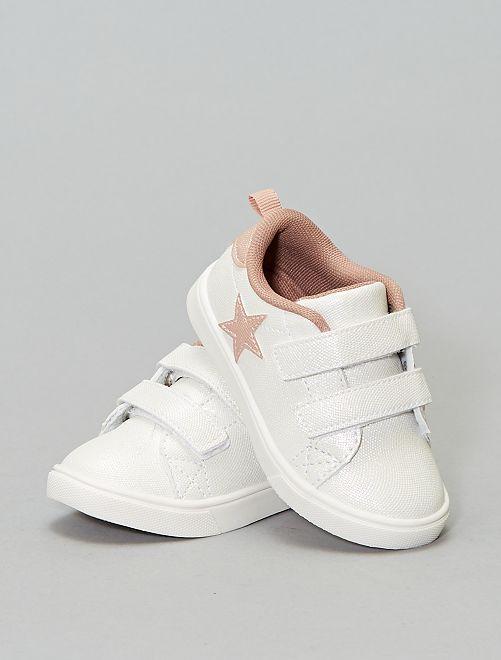 Zapatillas deportivas brillantes con velcros                                         blanco Bebé niña