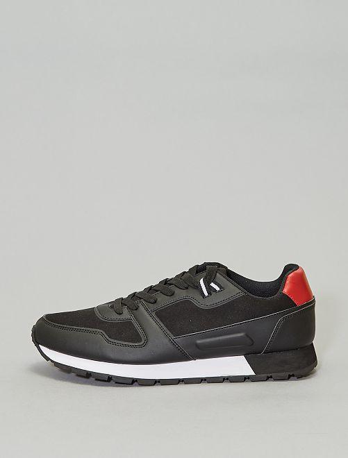 Zapatillas deportivas casual de dos materiales                             negro