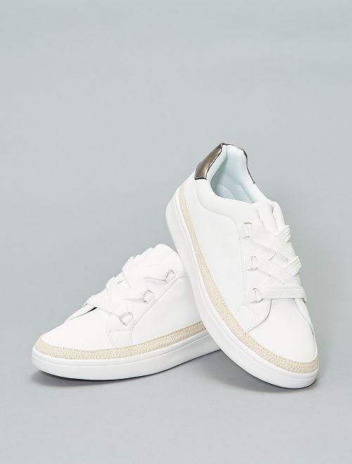 Zapatillas deportivas con bordes trenzados                             blanco Mujer talla 34 a 48