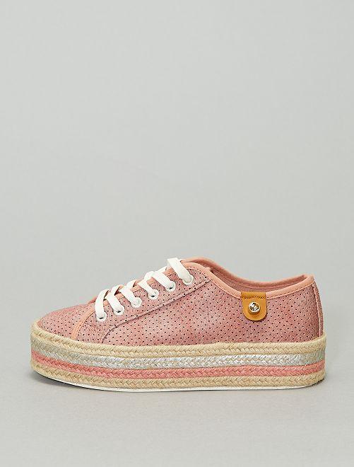 Zapatillas deportivas con cordones y suela de esparto                             rosa