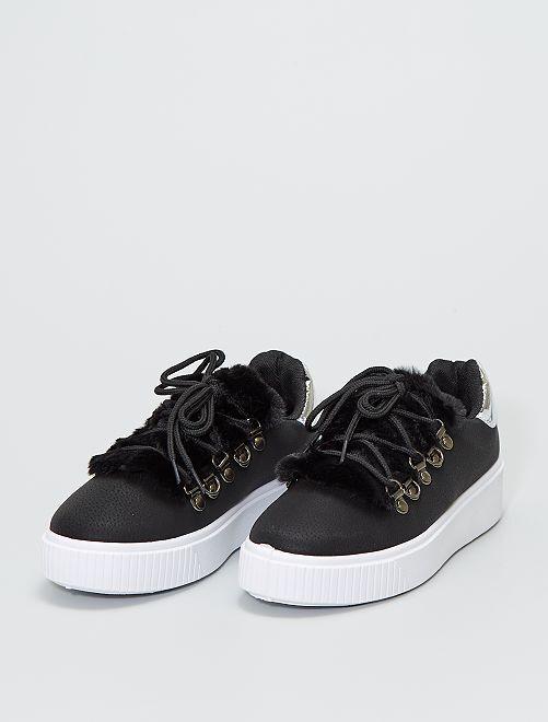 Zapatillas deportivas con parte superior de pelo                             negro