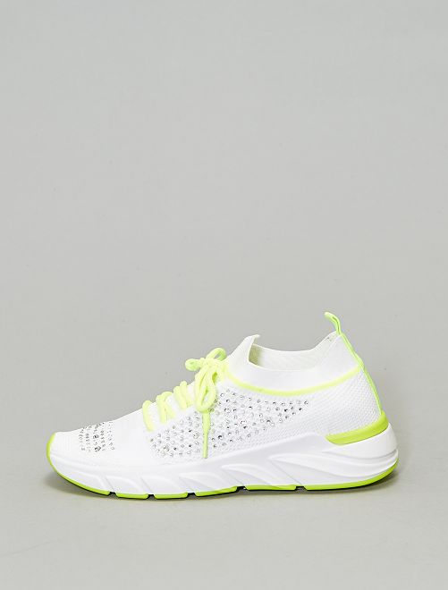 Zapatillas deportivas con strass                             blanco