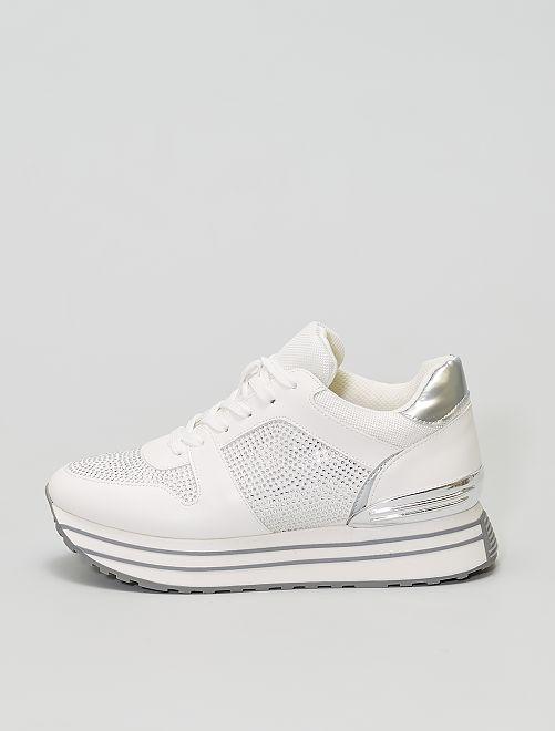 Zapatillas deportivas con suela gruesa                             BLANCO