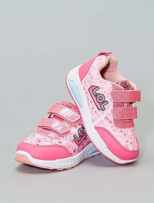 Zapatillas deportivas con velcros y brillos LOL                             rosa Zapatos