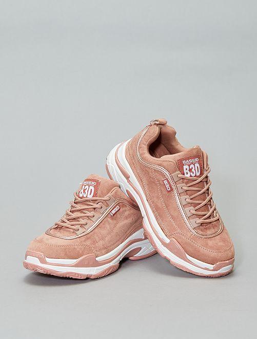 Zapatillas deportivas de antelina con cordones                             ROSA