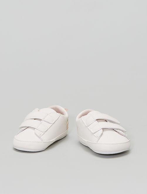 Zapatillas deportivas de 'flores' con velcros                                         BLANCO