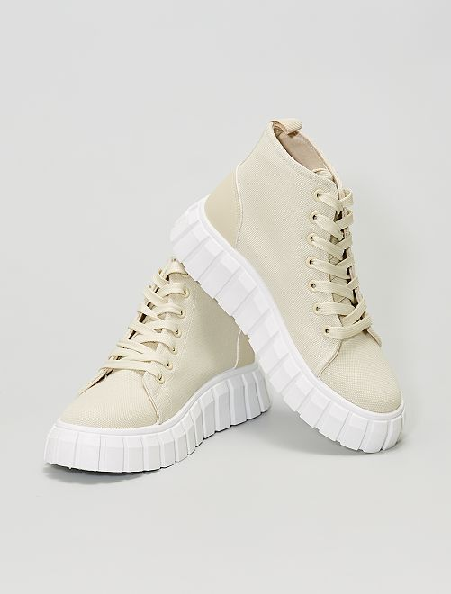 Zapatillas deportivas de tela altas con suela gruesa                             BEIGE