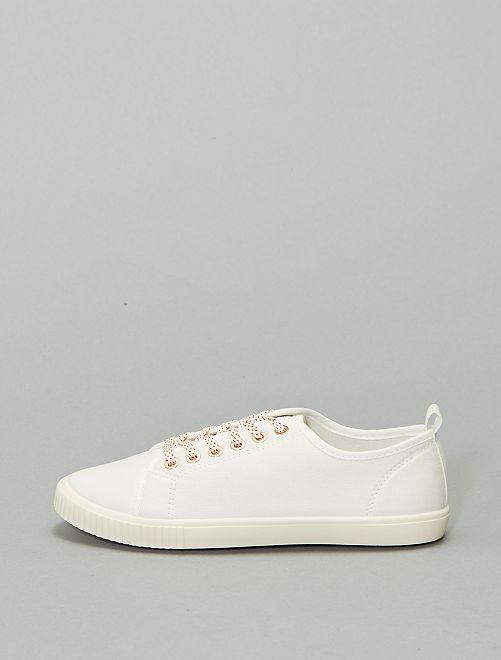 Zapatillas deportivas de tela con cordones                                                     blanco