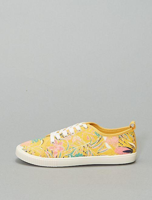 Zapatillas deportivas de tela con cordones estampado 'flores'                                                     amarillo