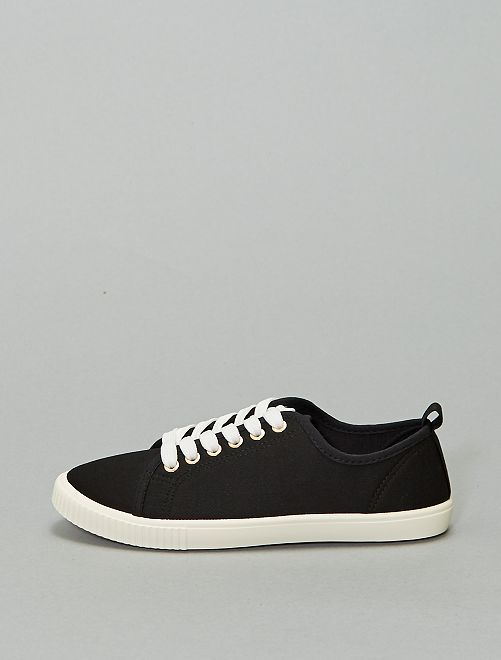 Zapatillas deportivas de tela con cordones                             negro