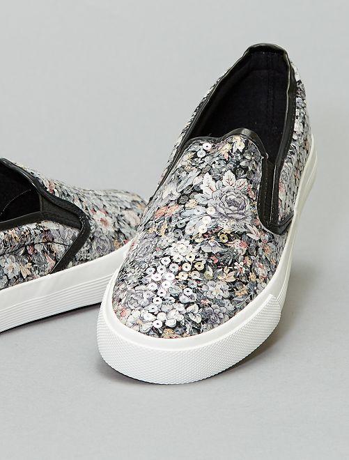 Zapatillas deportivas de tela con estampado floral                             negro