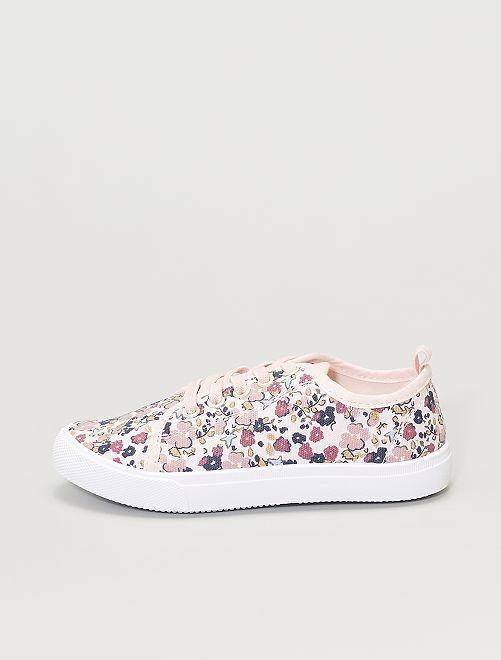Zapatillas deportivas de tela con flores                                         rosa