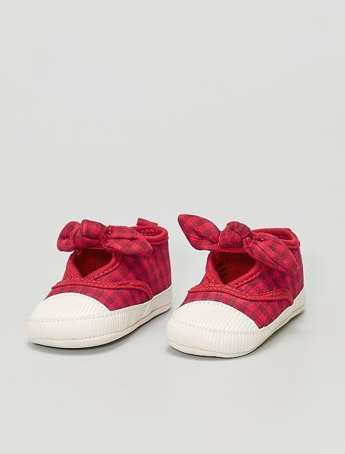 Zapatillas deportivas de tela con lazos                             ROJO