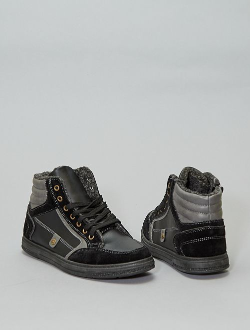 Zapatillas deportivas forradas en dos materiales                             negro
