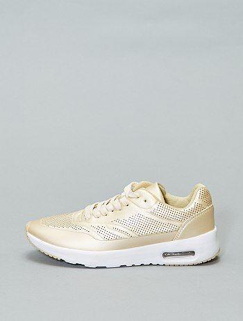 Tallas grandes mujer - Zapatillas deportivas modernas doradas estilo  running - Kiabi 300498d036a