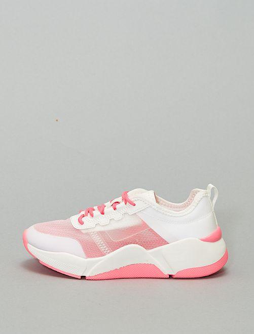 Zapatillas deportivas transparentes suela gruesa                             BLANCO
