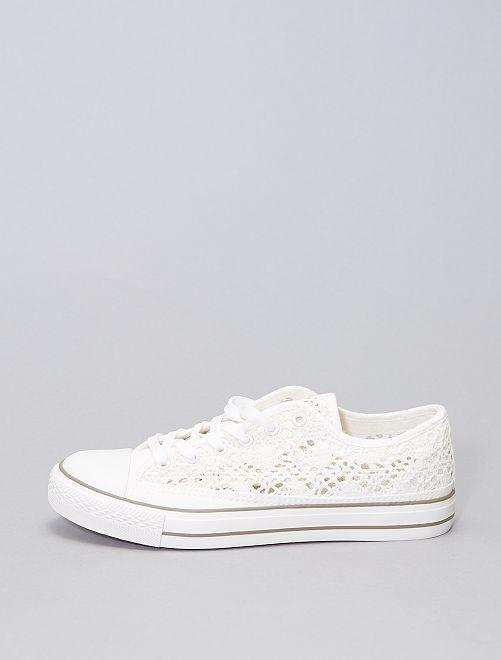 Zapatillas ganchillo tallas grandes                             blanco