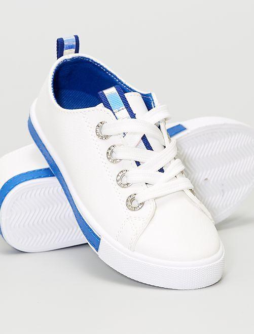 Zapatillas ojales con strass                             azul