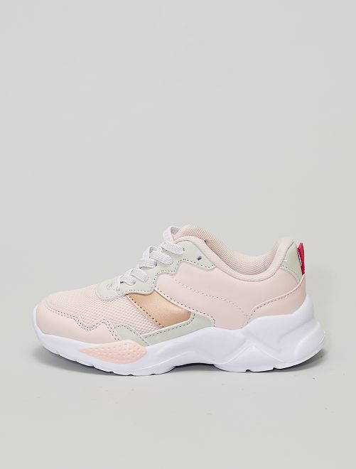 Zapatillas running con cordones elásticos                             rosa