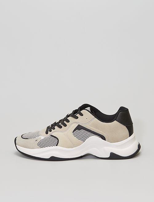 Zapatillas running de antelina y malla                             gris