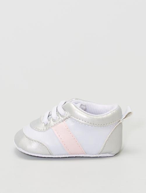 zapatillas sintéticas                                         blanco/rosa