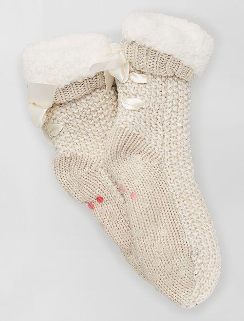 Zapatillas tipo calcetines antideslizantes                                                     BEIGE