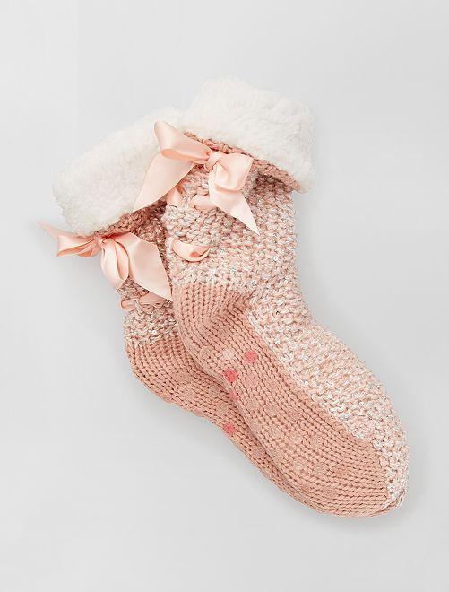 Zapatillas tipo calcetines antideslizantes                                                     rosa