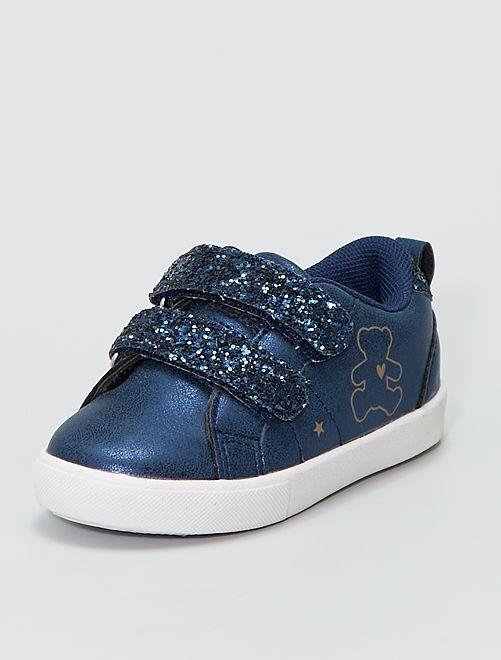 Zapatillas velcro brillantes 'Lulu Castagnette'                             AZUL