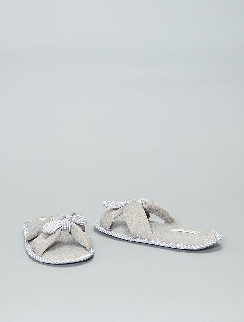 Zapatos con lazos                     gris Mujer talla 34 a 48