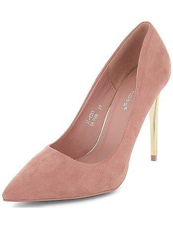 Zapatos de antelina con tacones dorados - Kiabi