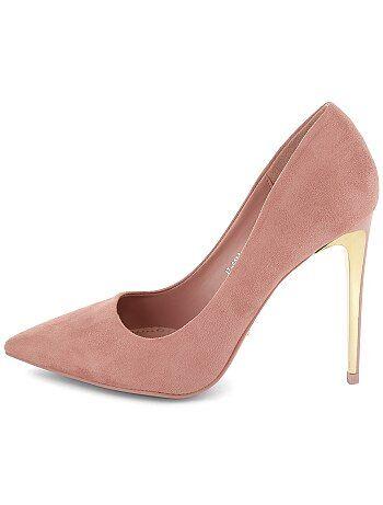 Zapatos de antelina con tacones dorados mujer rosa kiabi 22 00 - Con 2 tacones ...