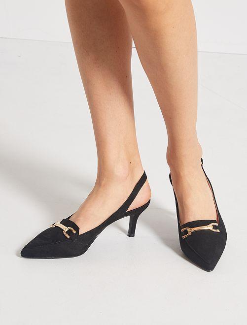 Zapatos de tacón abiertos de antelina                             NEGRO