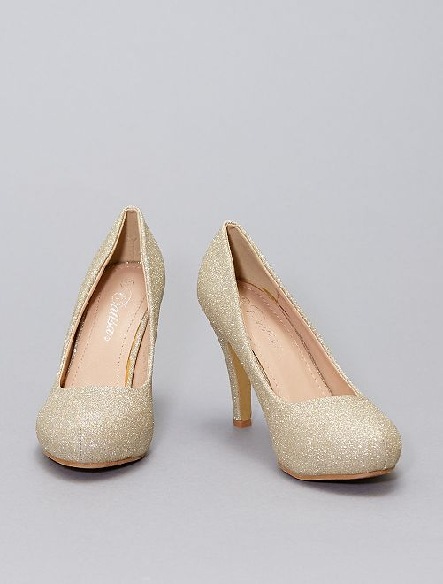 Zapatos de tacón brillantes                             oro
