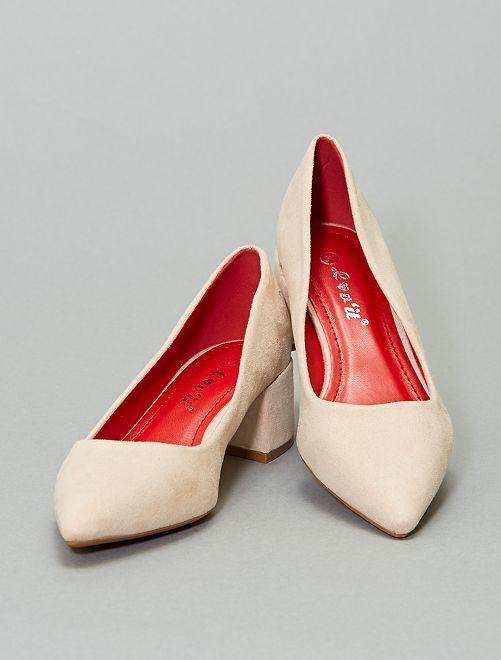 Zapatos de tacón cuadrado                                         BEIGE
