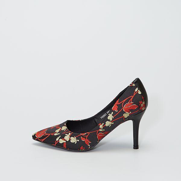 Zapatos De Tacon De Aguja De Flores Mujer Talla 34 A 48 Negro Kiabi 22 00