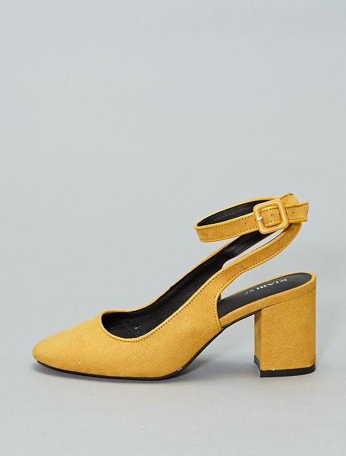 Zapatos de tacón de antelina                             amarillo Mujer talla 34 a 48
