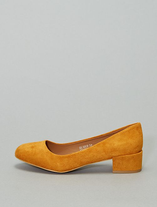 Zapatos de tacón de antelina                                         AMARILLO