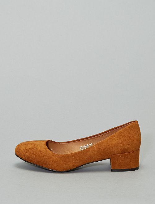 Zapatos de tacón de antelina                                         camello