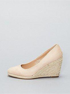 Zapatos de tacón de antelina con cuña - Kiabi