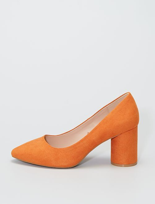 Zapatos de tacón de antelina                                         naranja