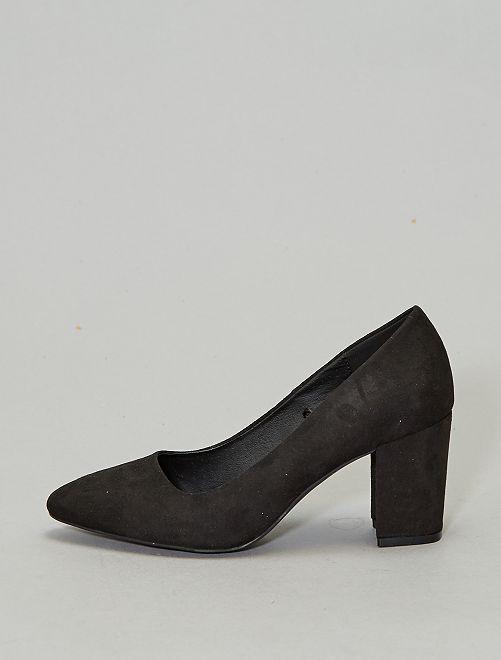 Zapatos de tacón de antelina                             negro Mujer talla 34 a 48